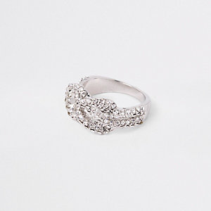 Silver tone diamante encrusted pave ring