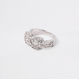 Silver tone rhinestone encrusted pave ring
