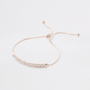 Rose gold tone rhinestone bar bracelet