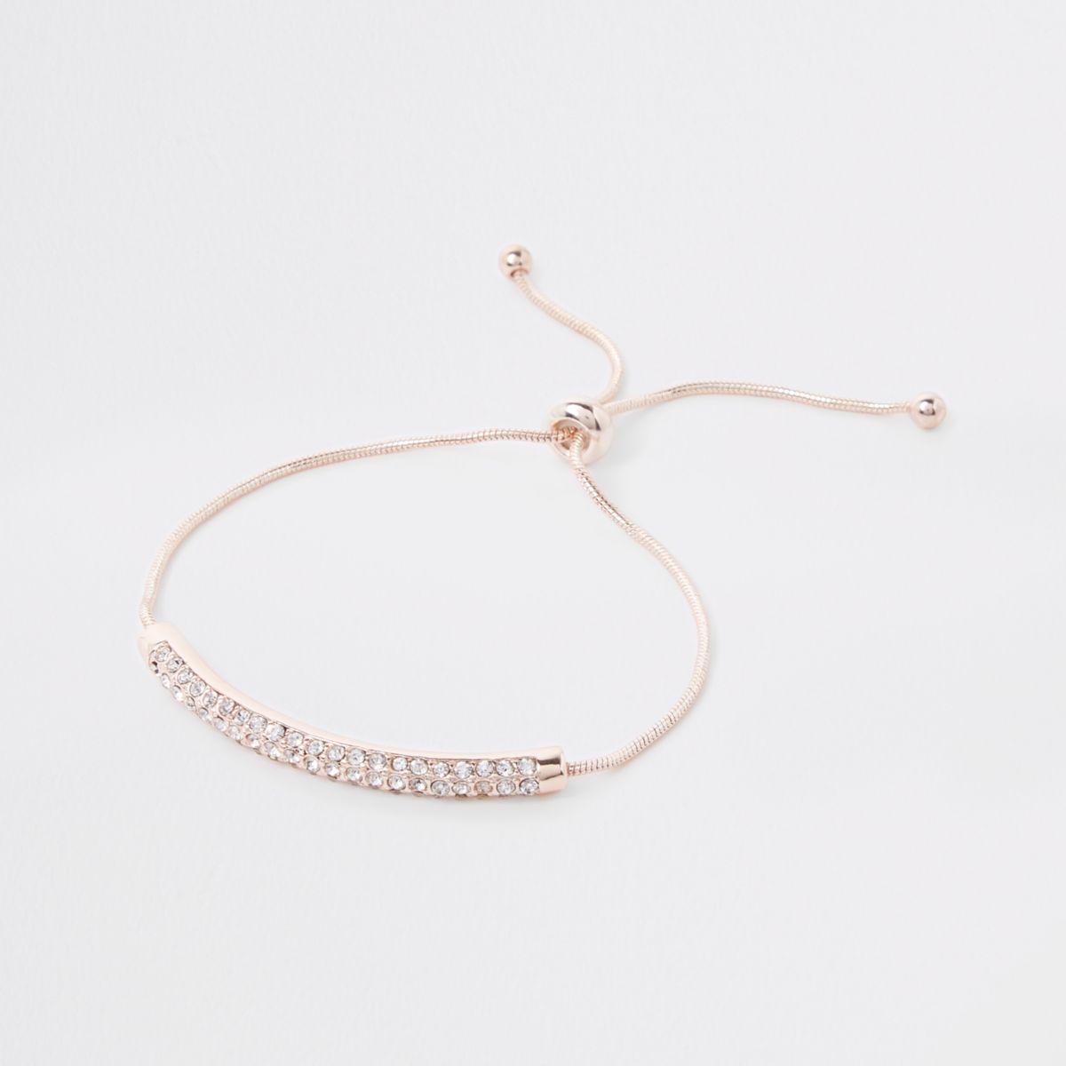 Rose gold tone rhinestone bar bracelet