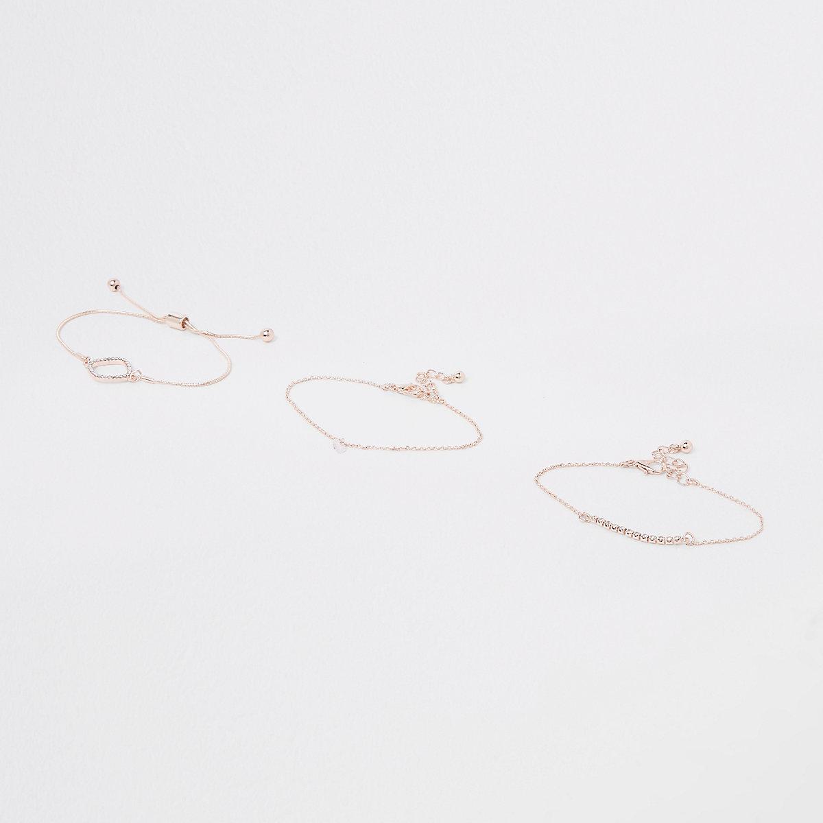 Rose gold rhinestone paved bracelet pack