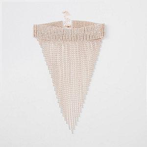 Collier façon or rose avec pendentif à strass