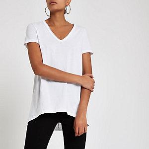 T-shirt ample blanc à col en V