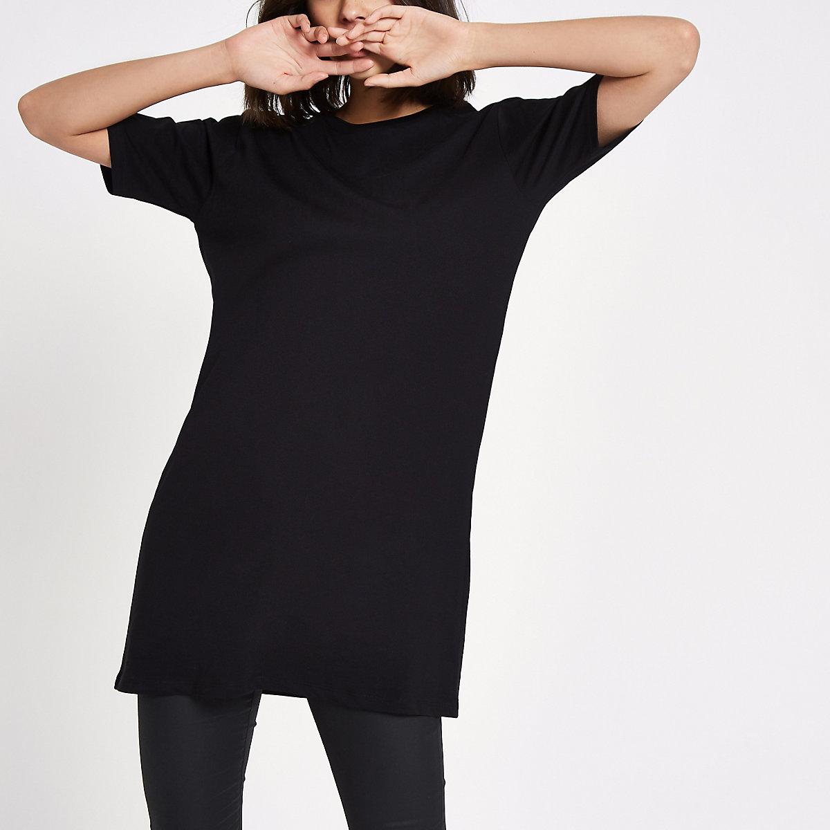 Black longline T-shirt
