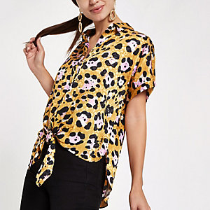 Yellow leopard print tie front shirt