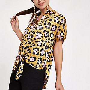 Chemise imprimé léopard jaune nouée