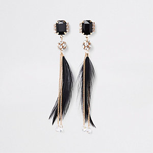 Gold tone black feather drop earrings