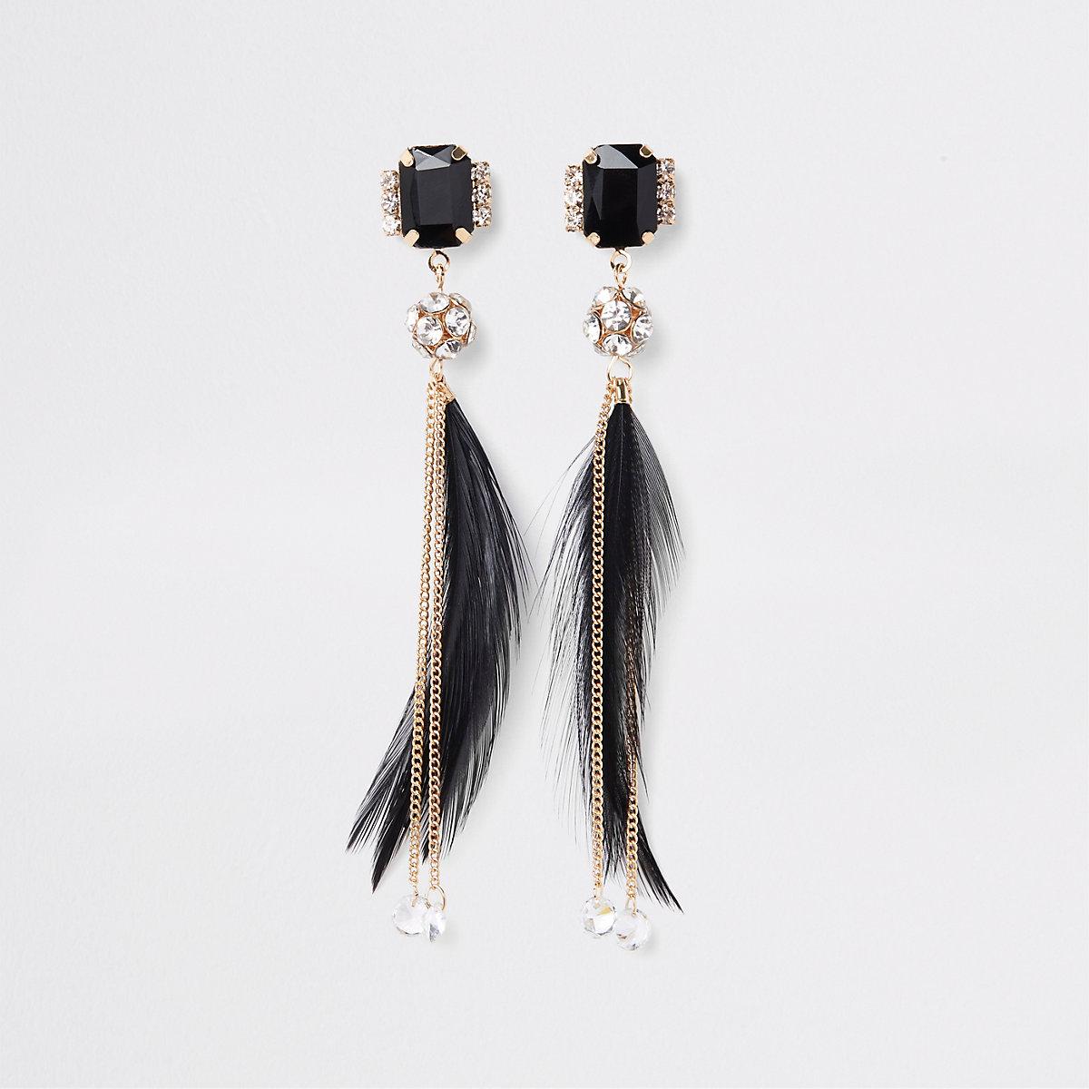 Gold tone black feather drop earrings