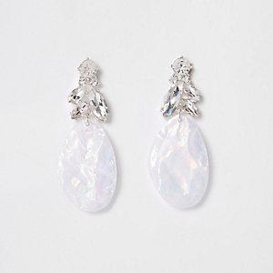 Silver tone white diamante drop earrings