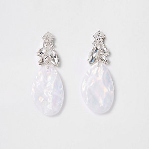 Silver tone white rhinestone drop earrings