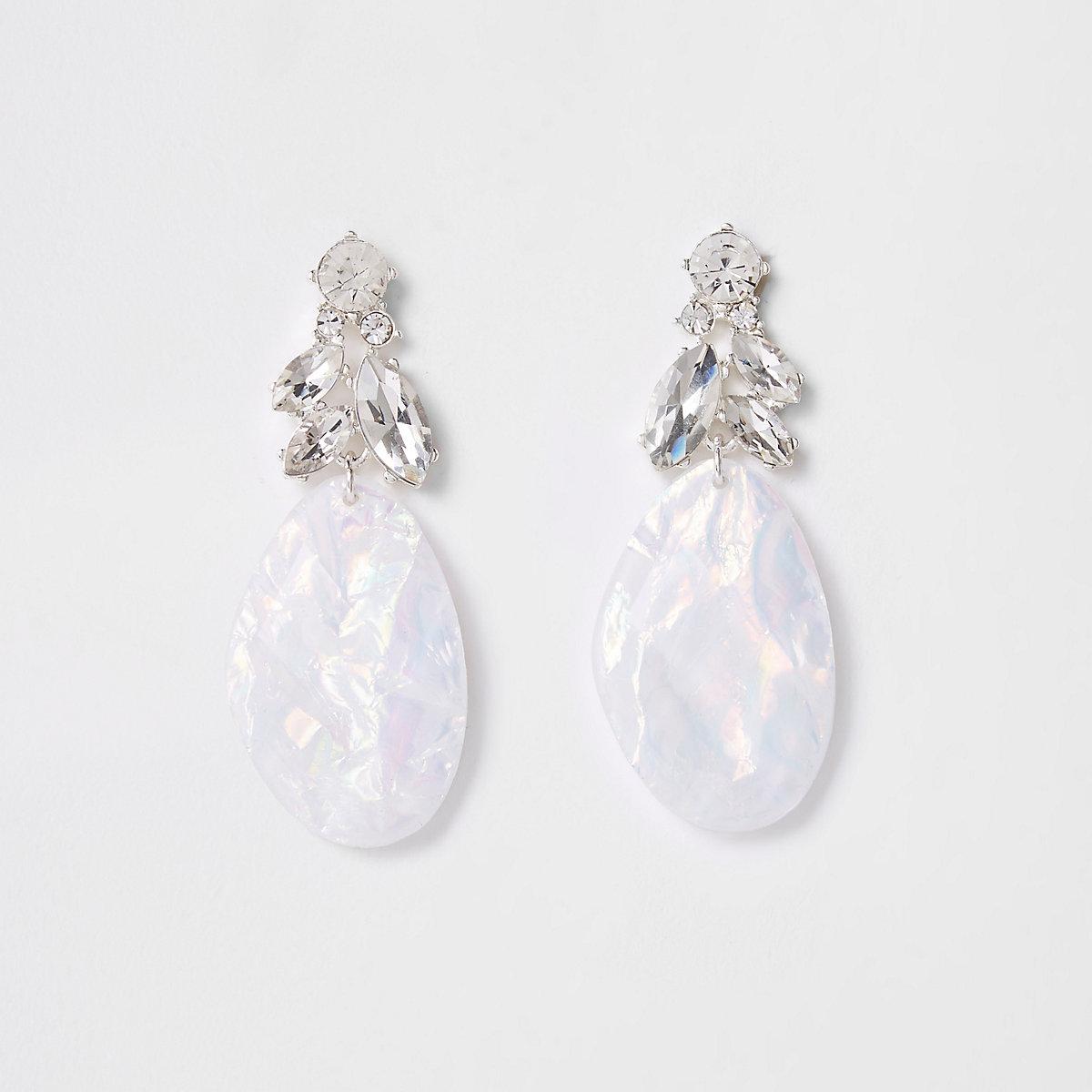 Silver tone white rhinestone drop earrings
