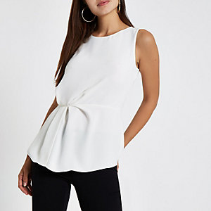 White loose fit gathered waist top
