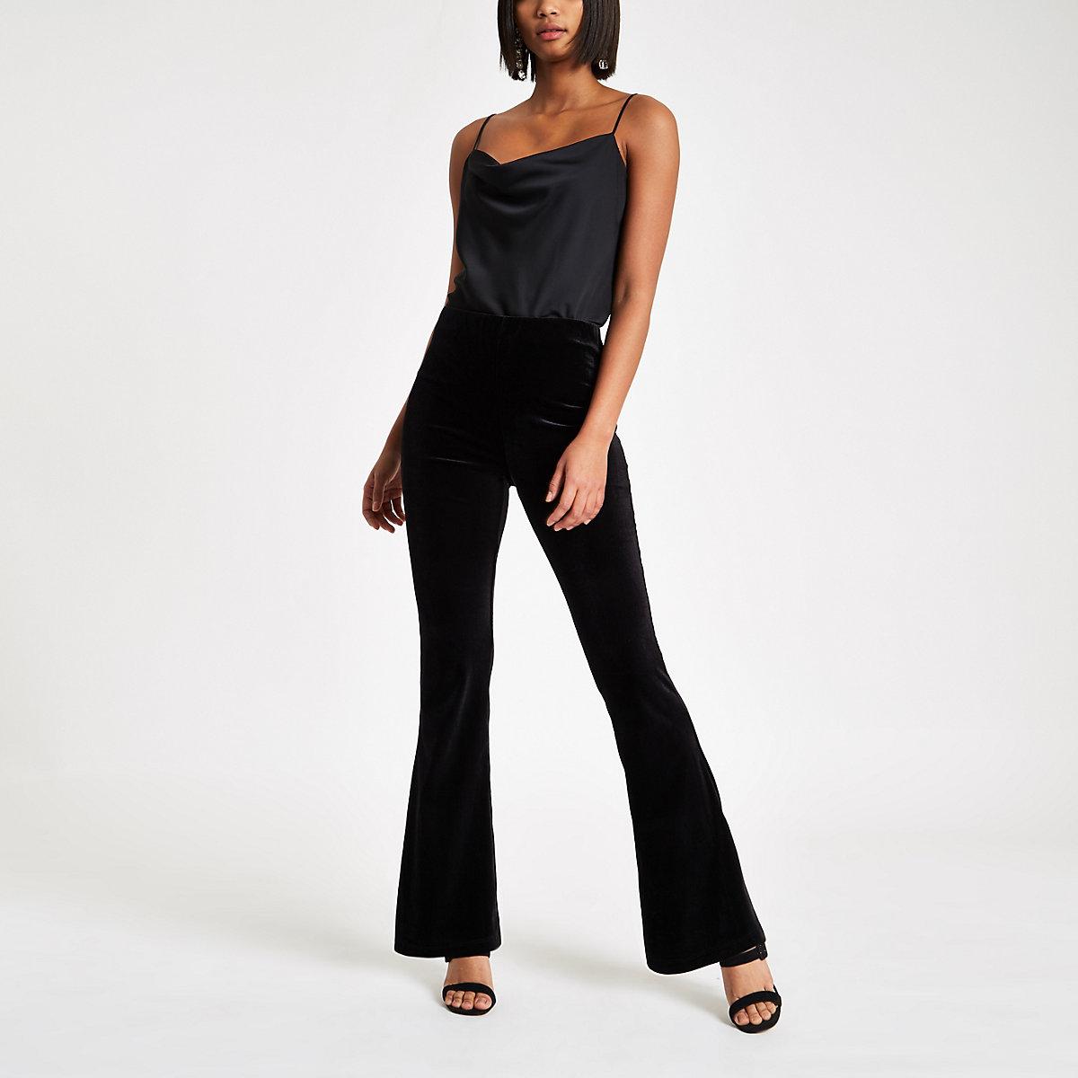 Black velvet flared pants