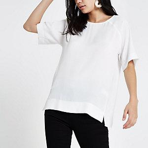 White sheer hem T-shirt