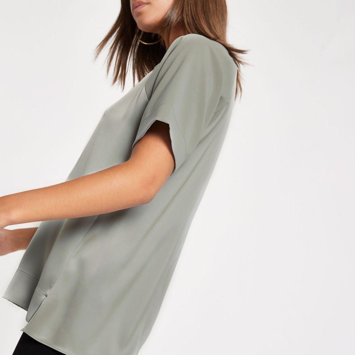 Light green sheer short sleeve blouse