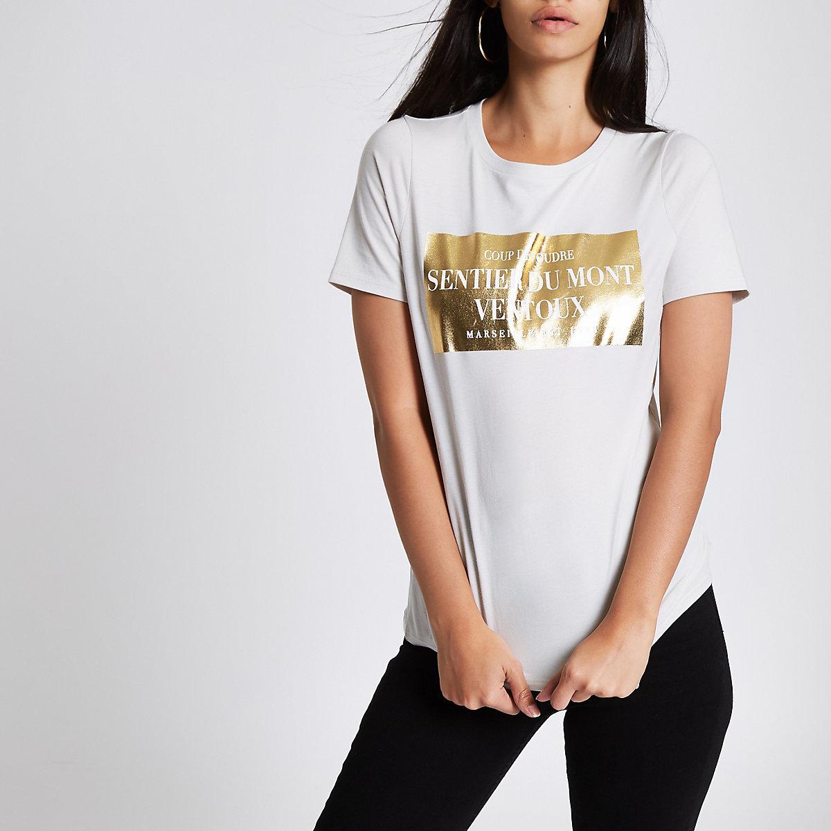 Beige aansluitend T-shirt met 'Sentier Du Mont'-print