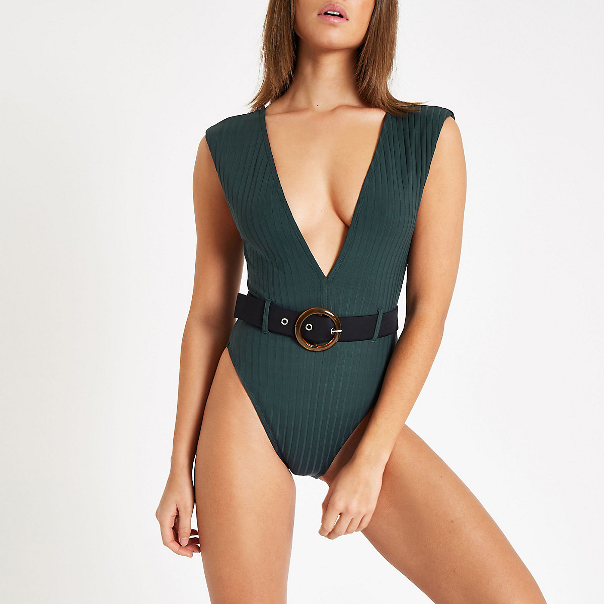 Green rib belted plunge swimsuit