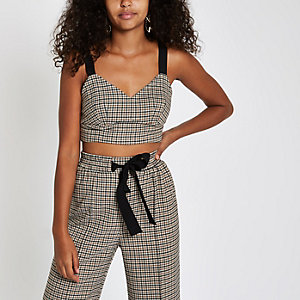 Brown check bralet