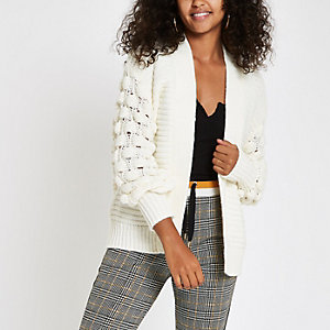 Cream chunky bobble knit cardigan
