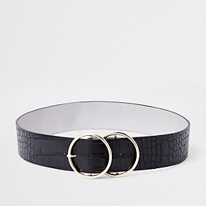 Black croc double ring waist belt