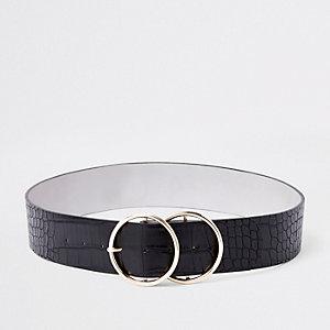Zwarte brede tailleriem met dubbele ring en krokodillenprint