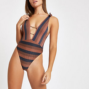 Brown stripe glitter plunge swimsuit