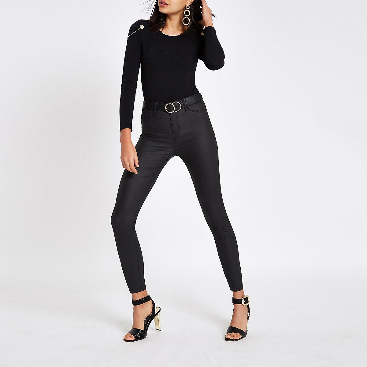 Black shoulder padded bodysuit