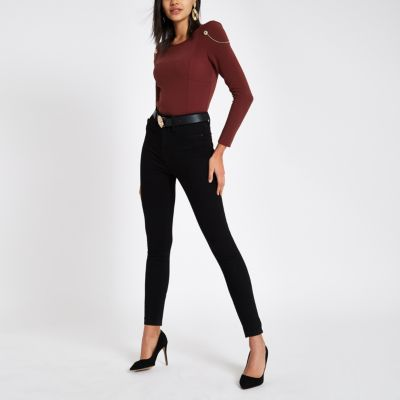 Dark Red Chain Shoulder Padded Bodysuit by River Island