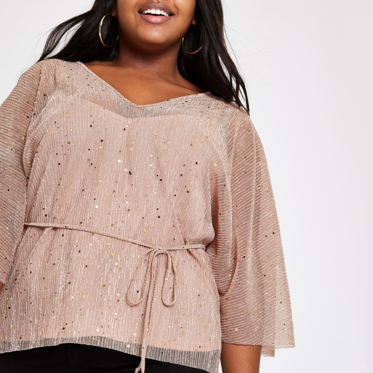 Plus pink plisse sequin kimono sleeve top