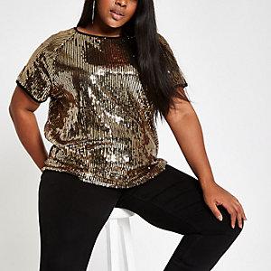 Plus – Goldenes, paillettenverziertes T-Shirt