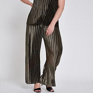 Plus khaki green plisse wide leg trousers