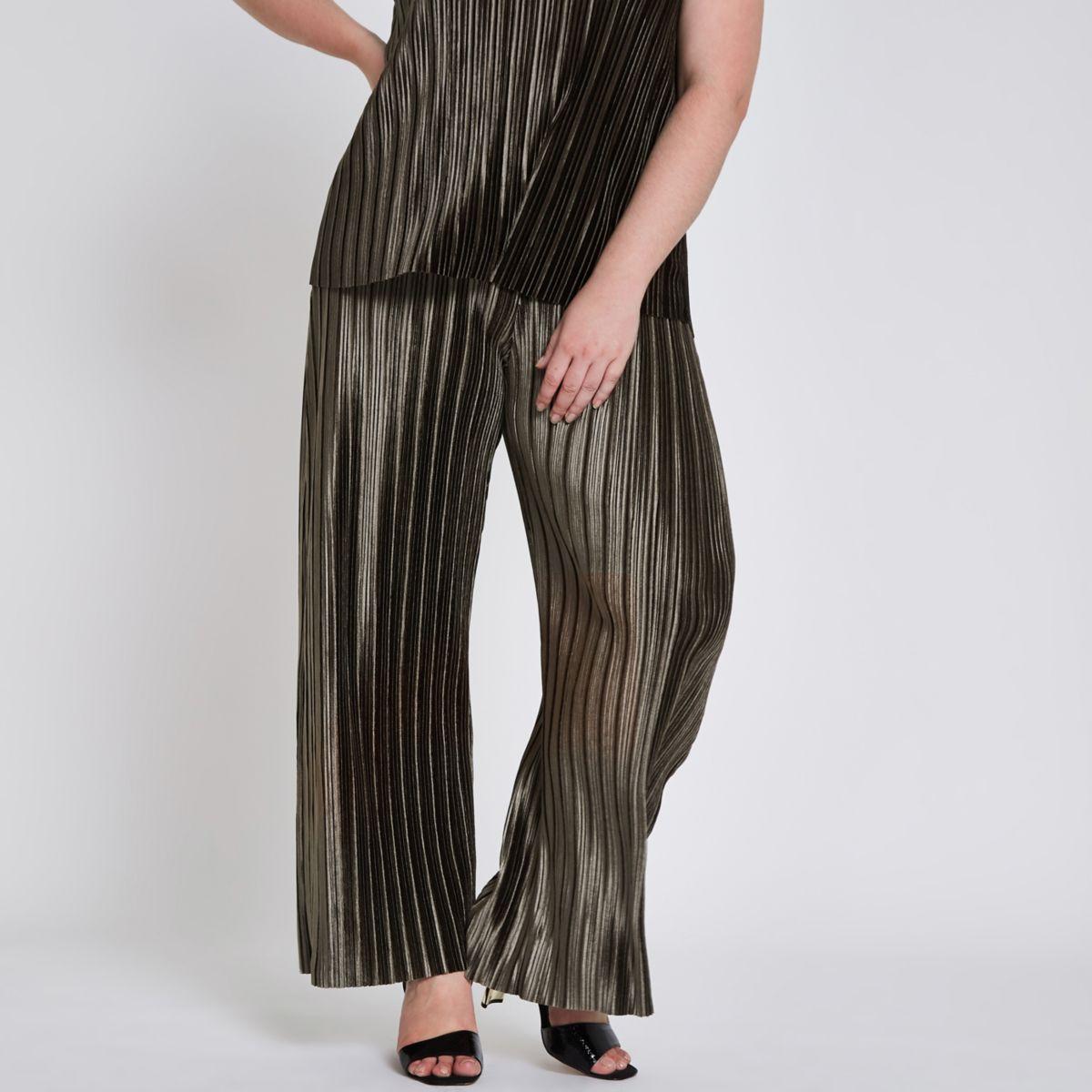Plus khaki green plisse wide leg pants