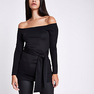 Black fitted long sleeve belted bardot top