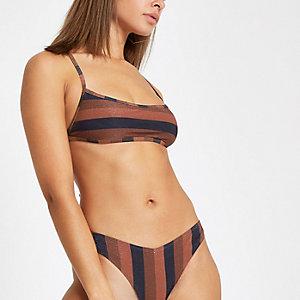 Haut de bikini rayé marron à encolure carrée et liens à nouer