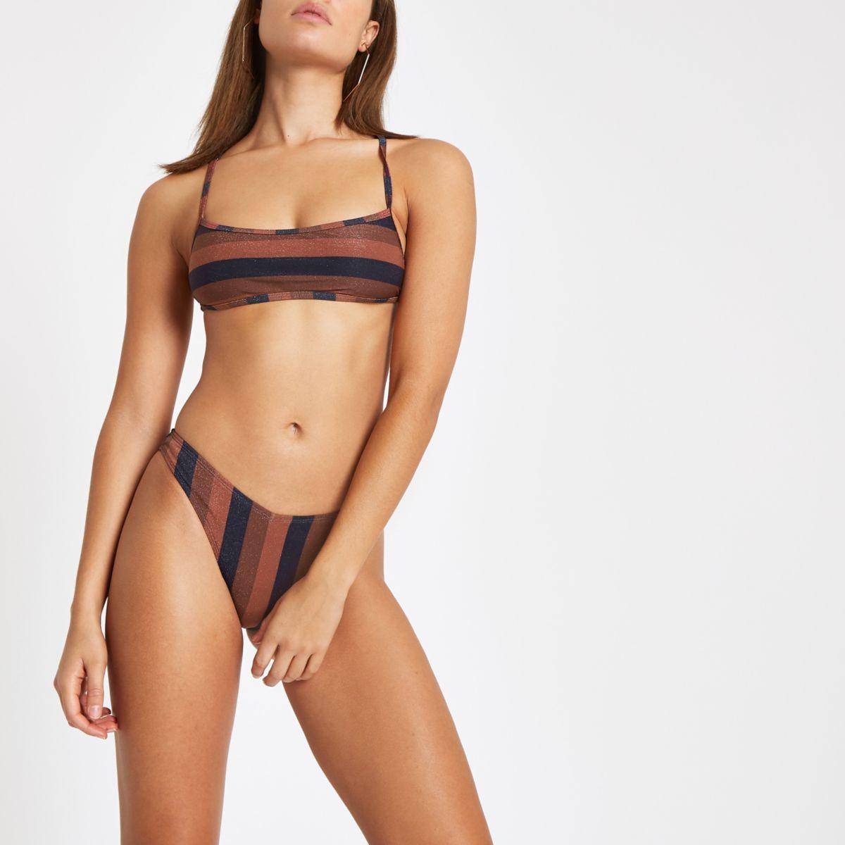 Brown stripe high leg bikini bottoms