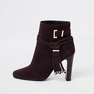 Burgundy suede tassel square toe boots