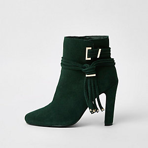 Dark green suede tassel side boots