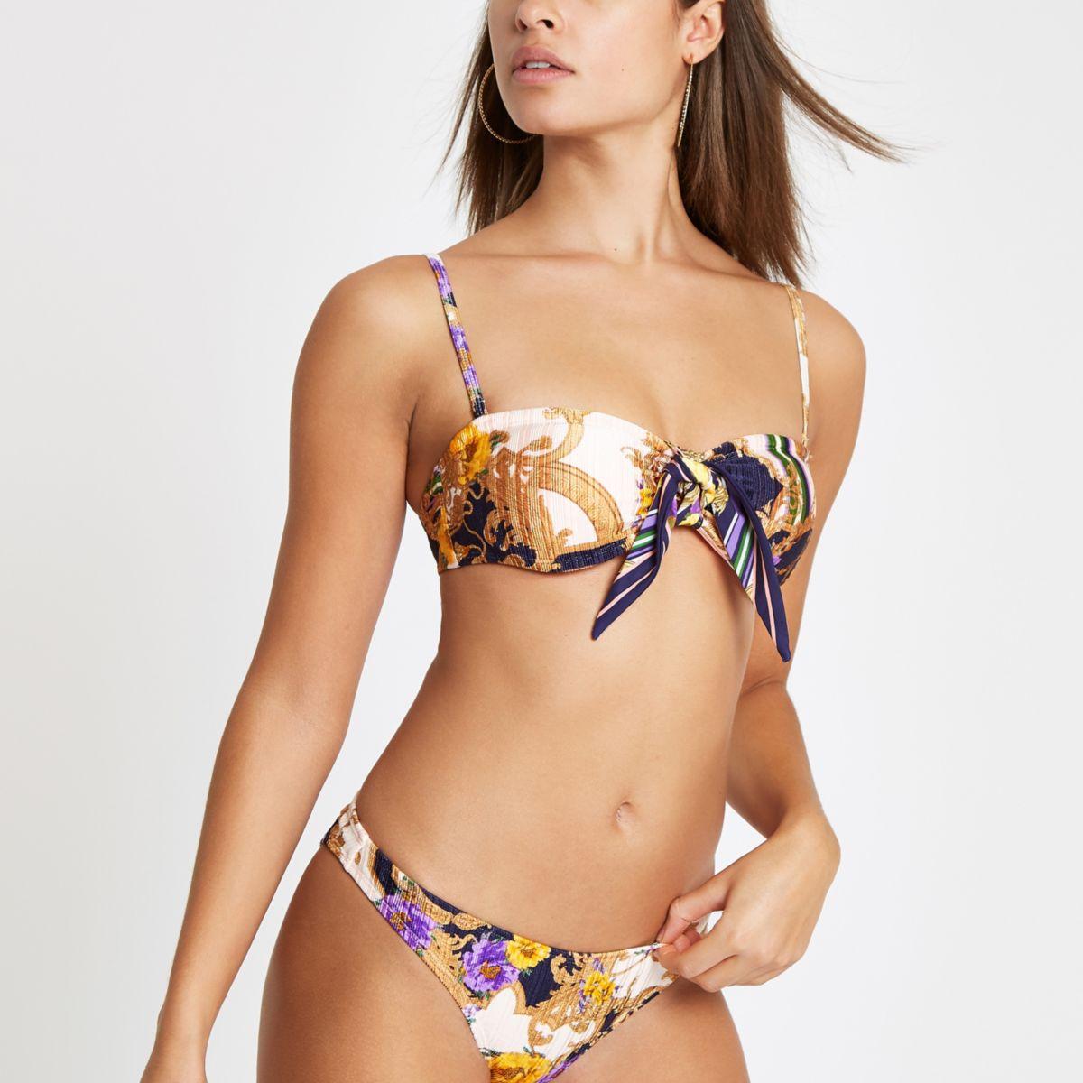 Navy scarf print bandeau bikini top