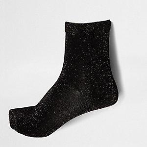 Zwarte metallic sokken