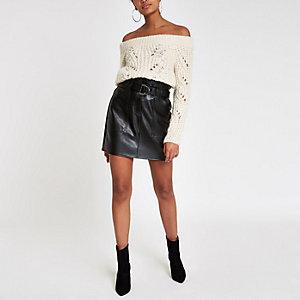 Cream knit stitch embellished bardot sweater