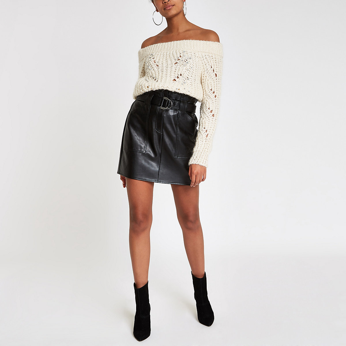Cream knit stitch embellished bardot sweater