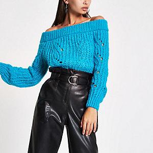 Blauer Bardot-Strickpullover
