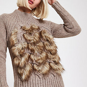 Brown faux fur front knit sweater