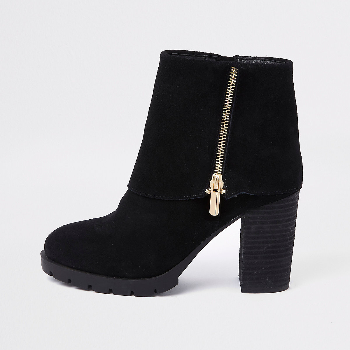 Black fold down ankle boots