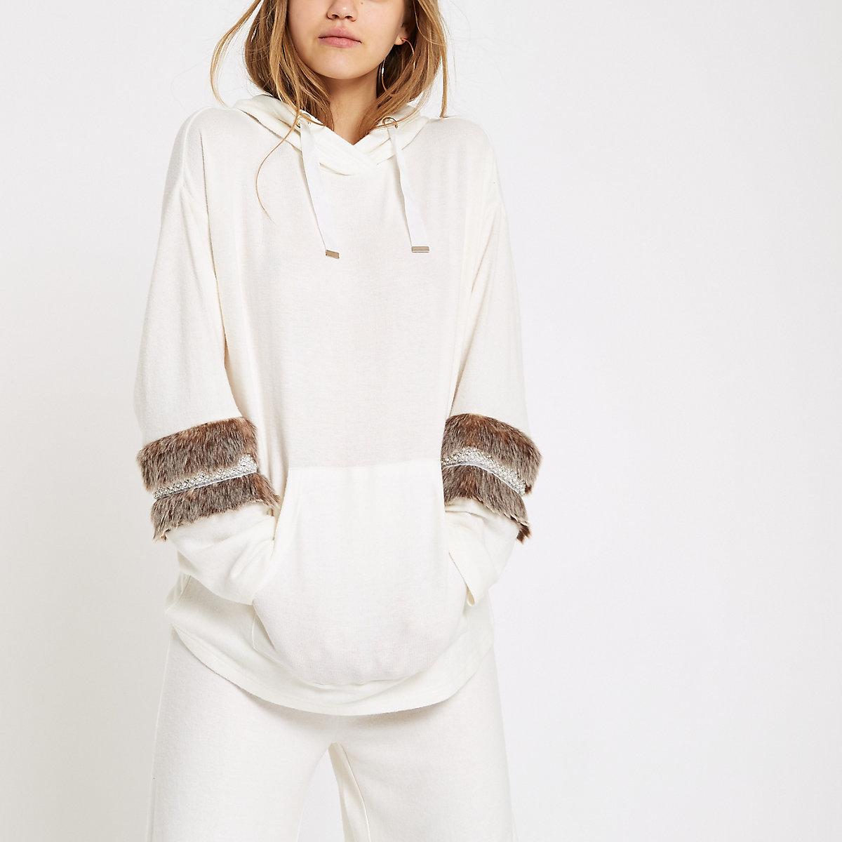 Cream faux fur trim pajama hoodie