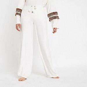 Pantalon large en jersey doux crème