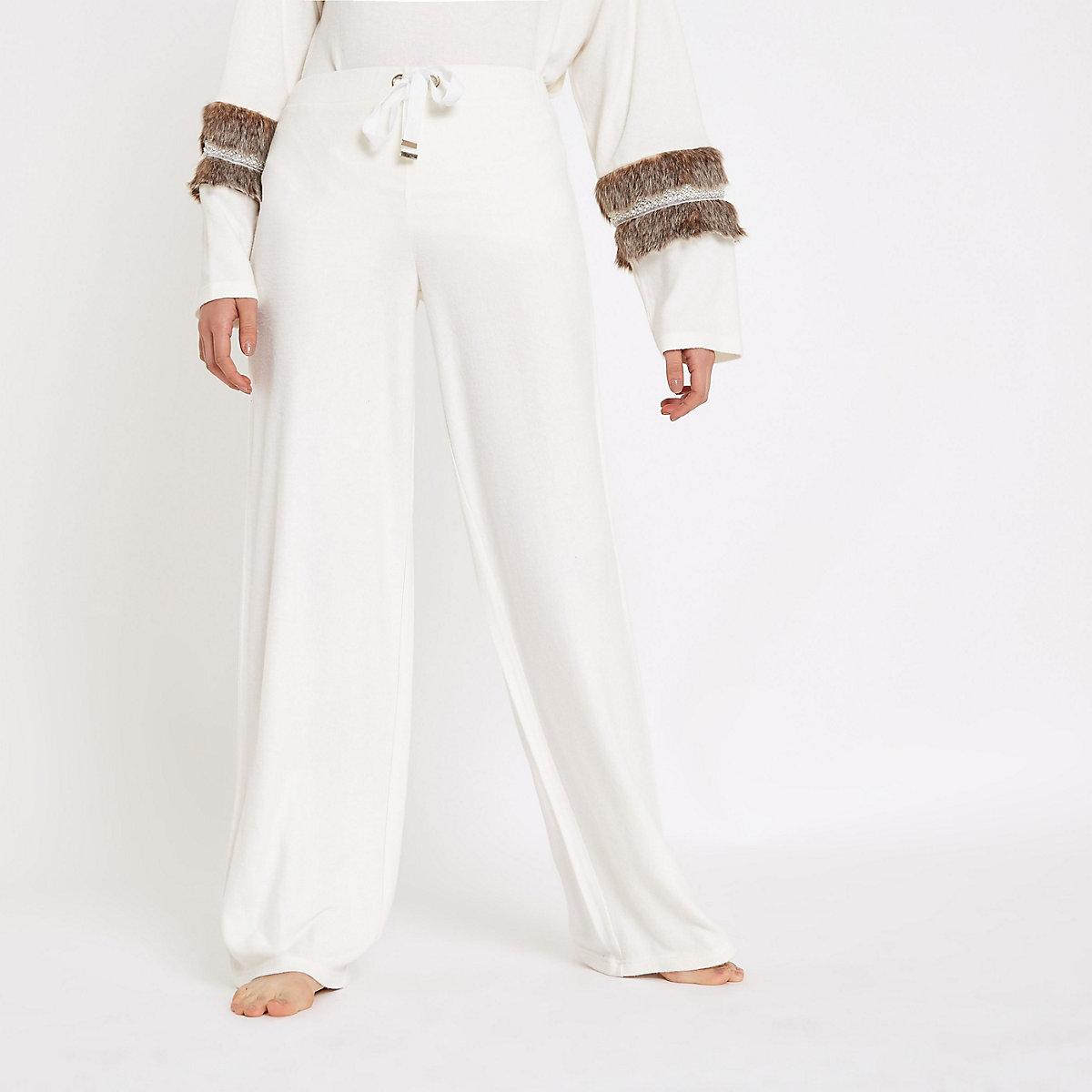 Cream soft jersey wide leg pants