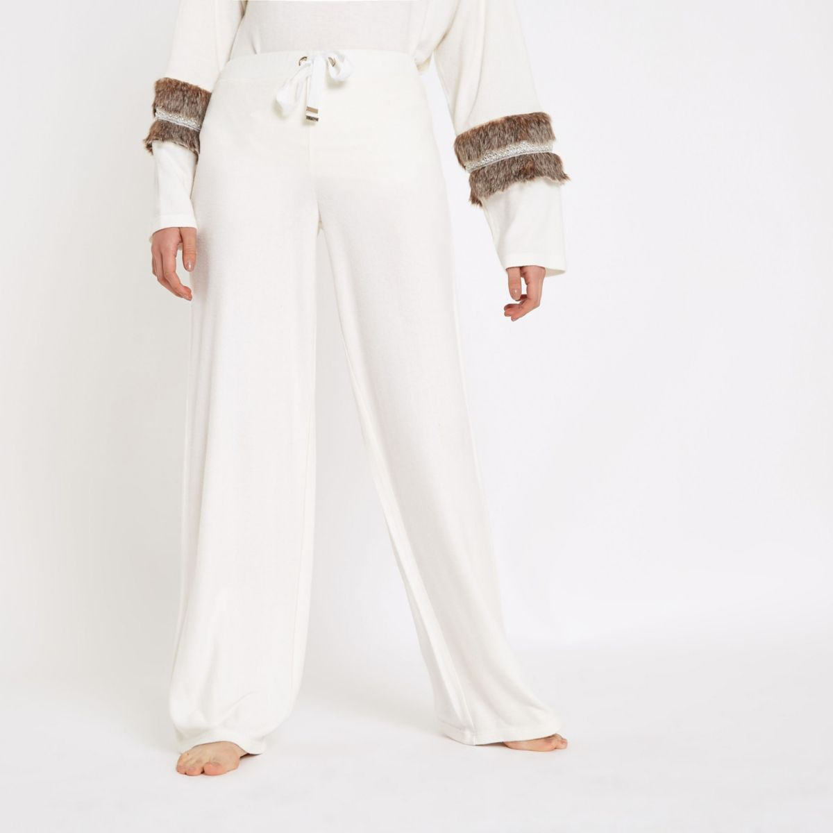 Cream soft jersey wide leg pants