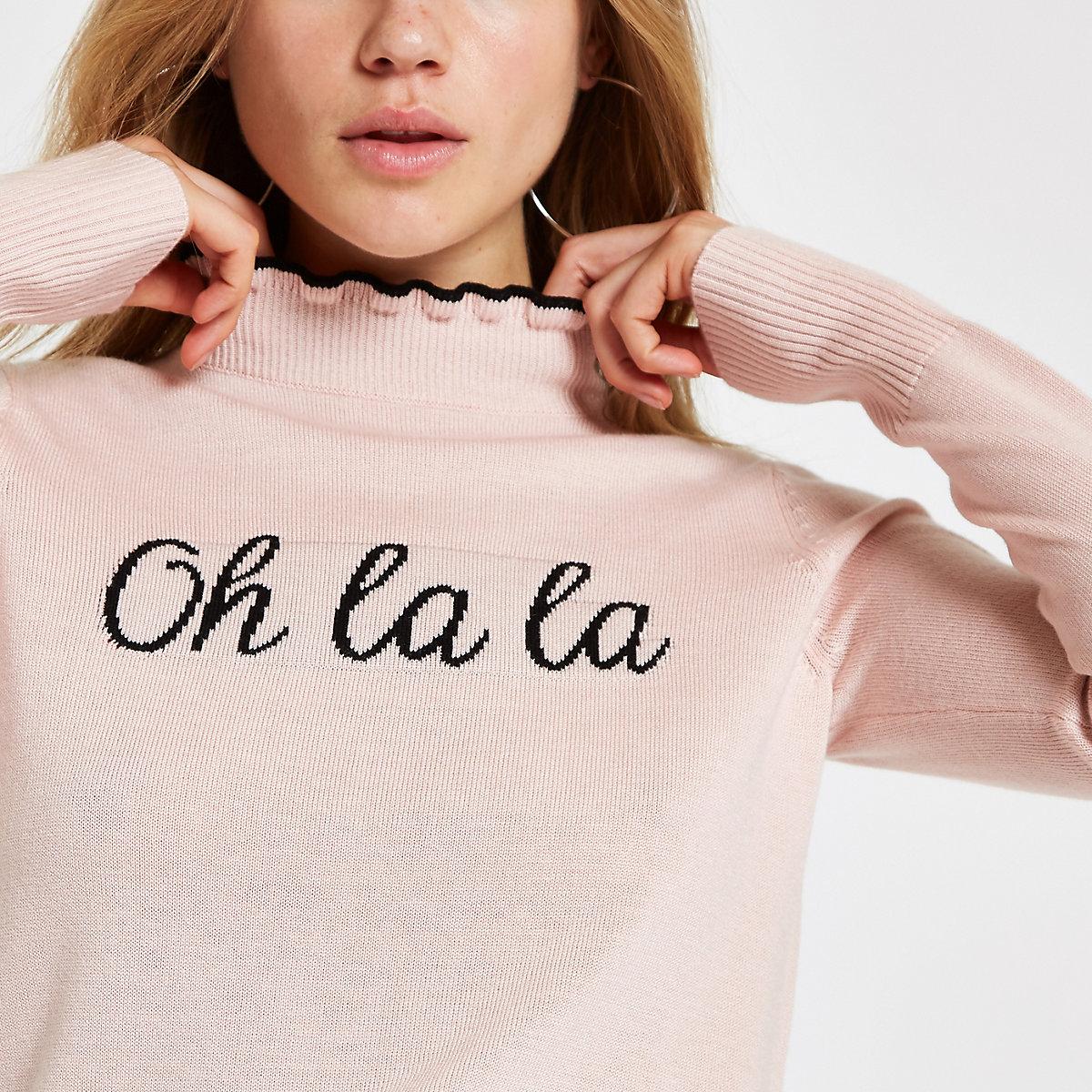 Pink knit 'Oh la la' frill turtle neck top