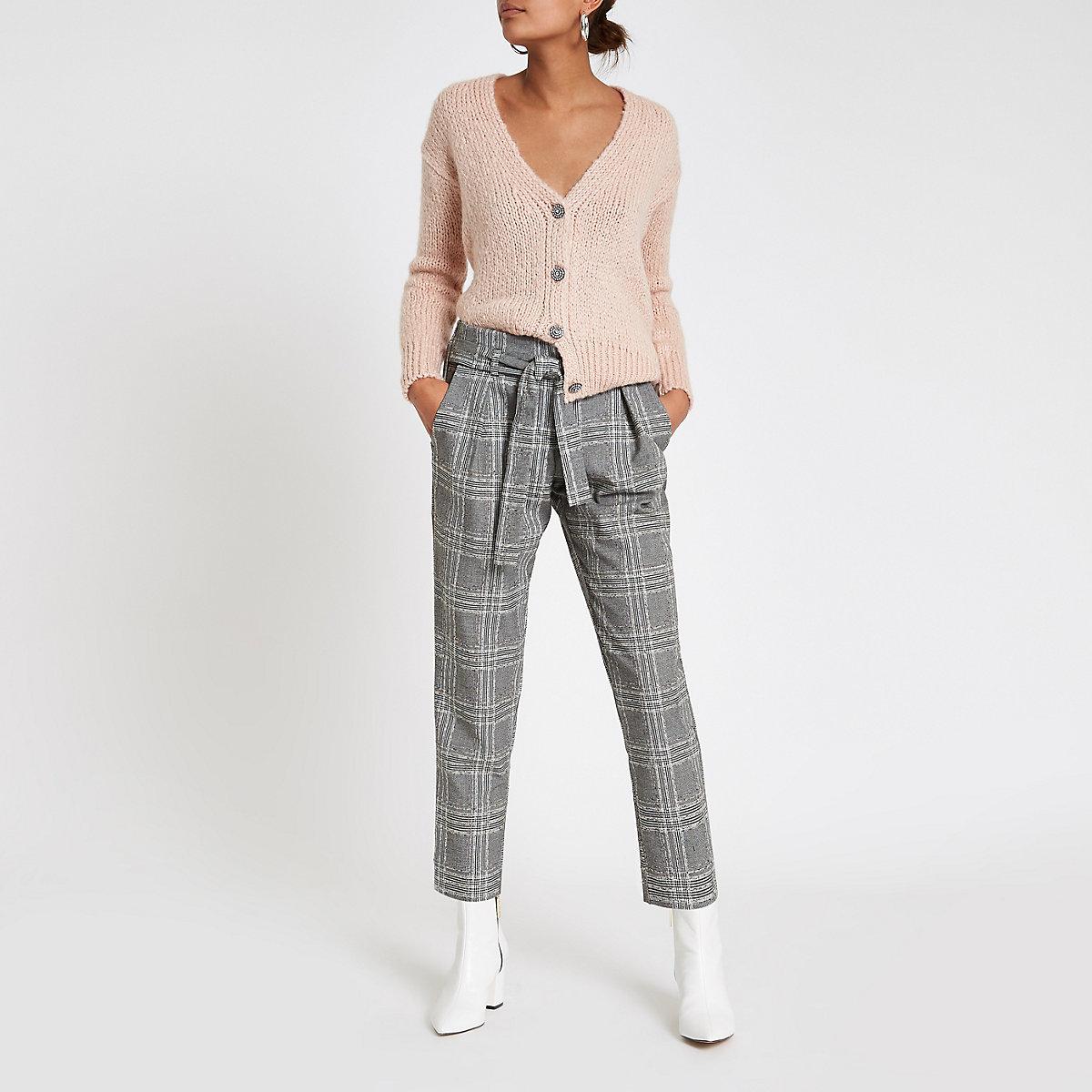 Pink rhinestone button knitted cardigan